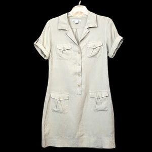 Banana Republic 8 Silk Linen Safari Shirt Dress